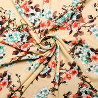 swirled viscose fabric with Japanese flower