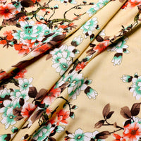 close up view of viscose Japanese flower fabric