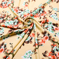 viscose fabric with Japanese floral print in orange and green