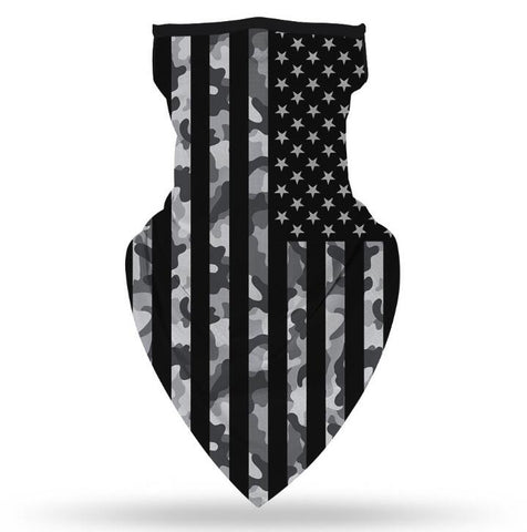 Ear Hanger Face Bandana,American Flag Black