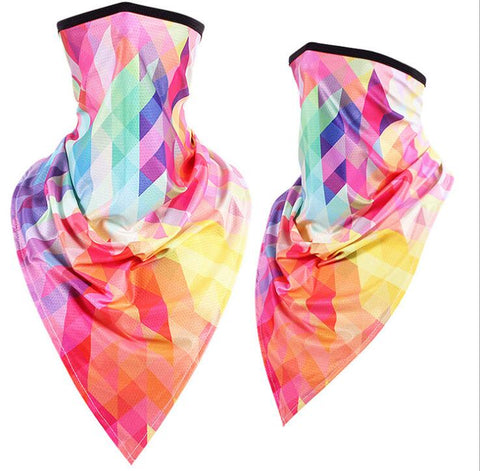 Ear Hanger Face Bandana,Colorful Blocks