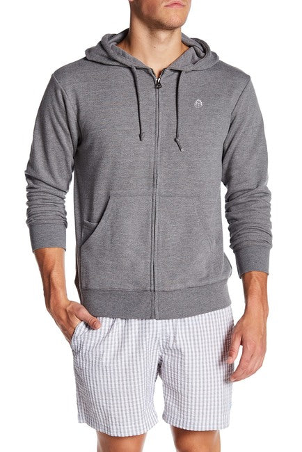 French Terry Zipper Hoodie - Charcoal Grey