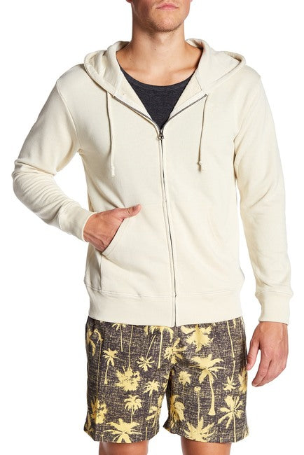 French Terry Zipper Hoodie - Cream