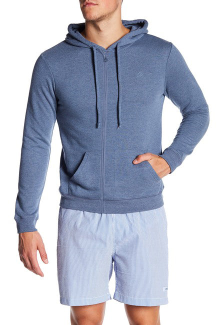 French Terry Zipper Hoodie - Denim Blue