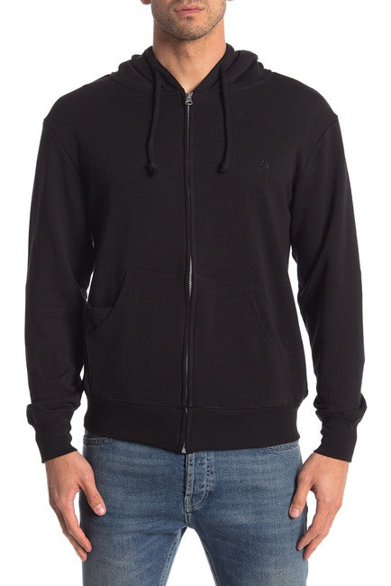 Black Heather French Terry Zipper Hoodie