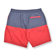 Color Block Elastic Waist Swim Trunks - Stone / Melon