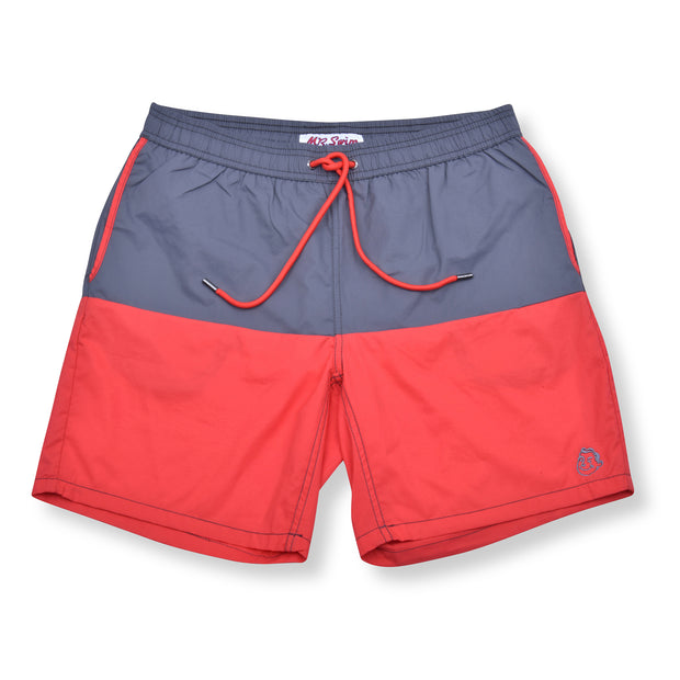 Color Block Solid Elastic Waist Swim Trunks - Stone / Melon