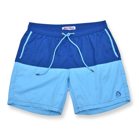 Color Block Solid Elastic Waist Swim Trunks - Royal / Sky Blue