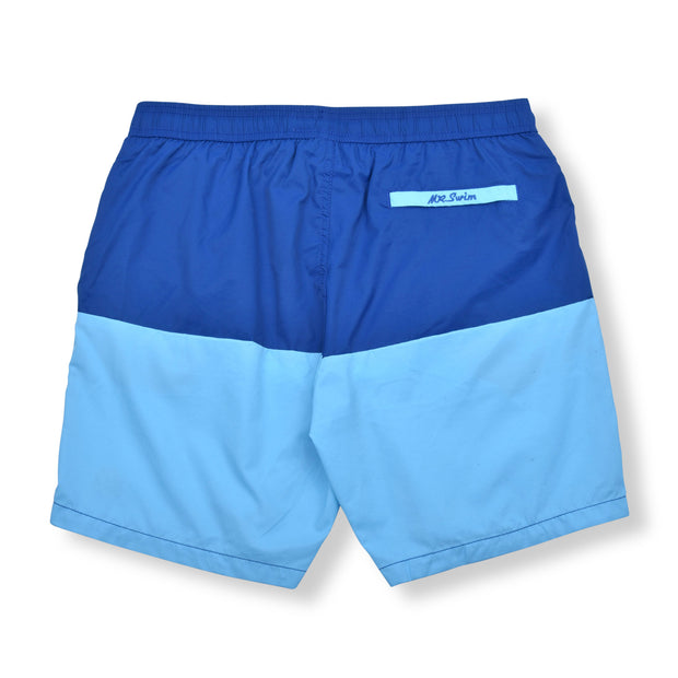 Color Block Elastic Waist Swim Trunks - Royal / Sky Blue