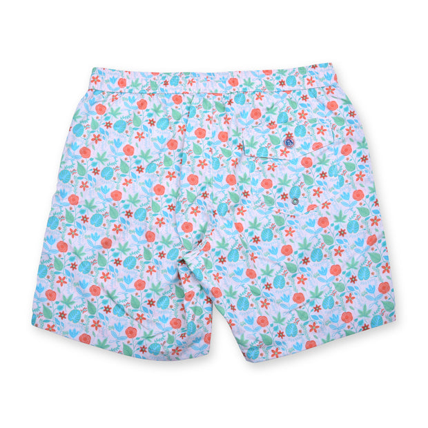 Floral Elastic Waist Swim Trunks - Pink
