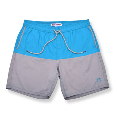Color Block Elastic Waist Swim Trunks - Jade / Grey