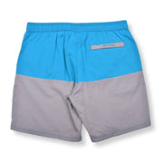 Color Block Solid Elastic Waist Swim Trunks - Jade / Grey