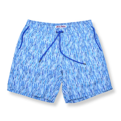 Paint Smudge Elastic Waist Swim Trunks - Blue