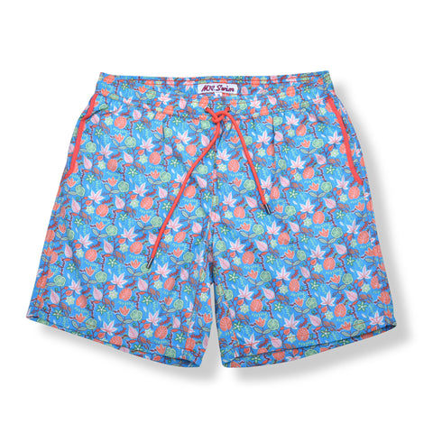 Floral Elastic Waist Swim Trunks - Turquoise Blue