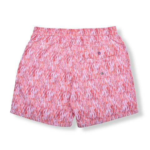 Paint Smudge Elastic Waist Swim Trunks - Red