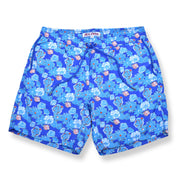 Floral Elastic Waist Swim Trunks - Blue