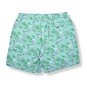 Daisy Roses Elastic Waist Swim Trunks - Green
