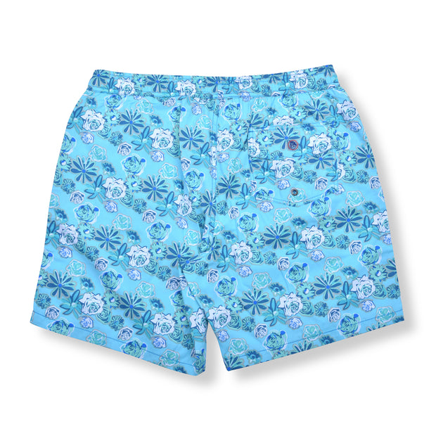 Daisy Roses Elastic Waist Swim Trunks - Light Blue