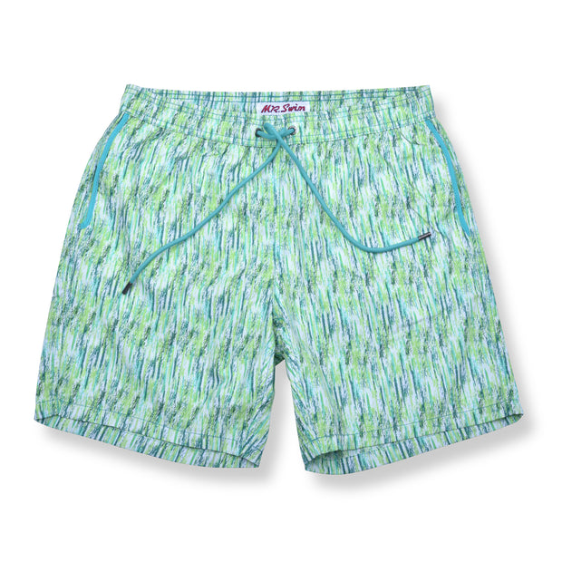 Paint Smudge Elastic Waist Swim Trunks - Green