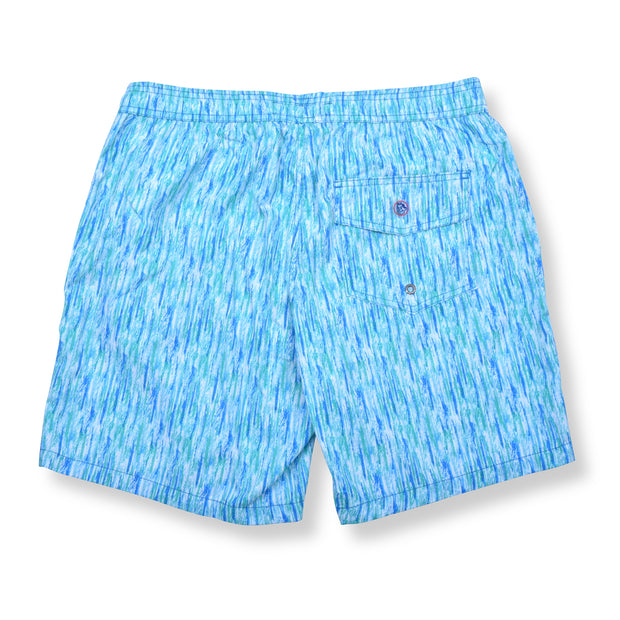 Paint Smudge Elastic Waist Swim Trunks - Teal Blue