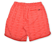Chalk Stripe 4-Way Stretch Swim Trunks - Red