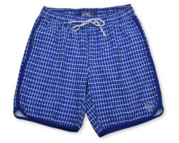 Chalk Stripe 4-Way Stretch Swim Trunks - Blue