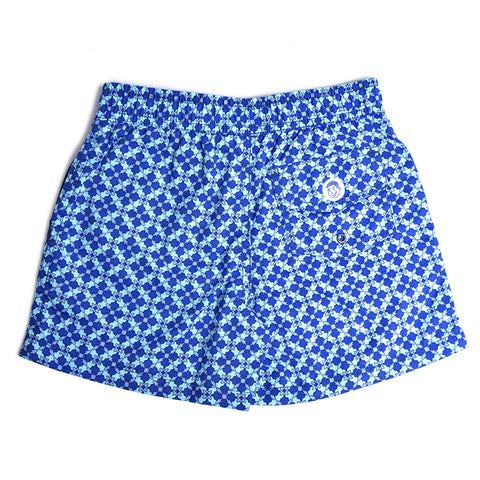 Jr. Swim - Kids Swim Trunks - Mosaic Blue and Grey