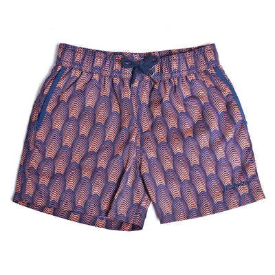 Jr. Swim - Kids Swim Trunks - Deco Navy and Coral