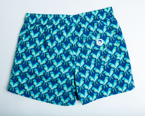 Jr. Swim - Kids Swim Trunks - Blue Parrots