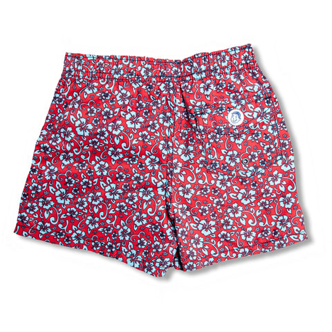 Jr. Swim - Kids Swim Trunks - Floral Red