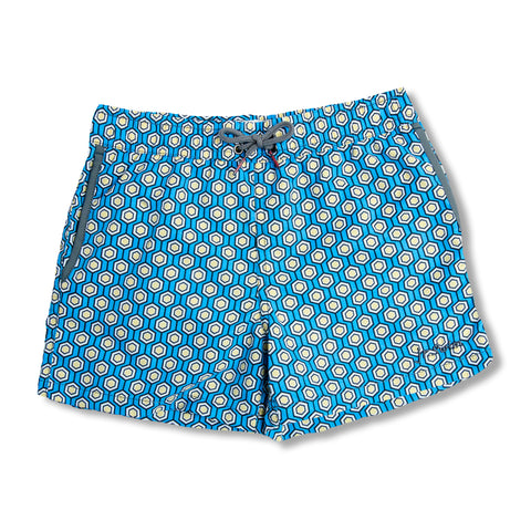 Jr. Swim - Kids Swim Trunks - Geometric Periwinkle Blue