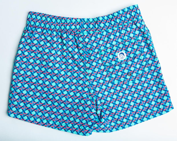 Jr. Swim - Kids Swim Trunks - Hexagon Blue and Red