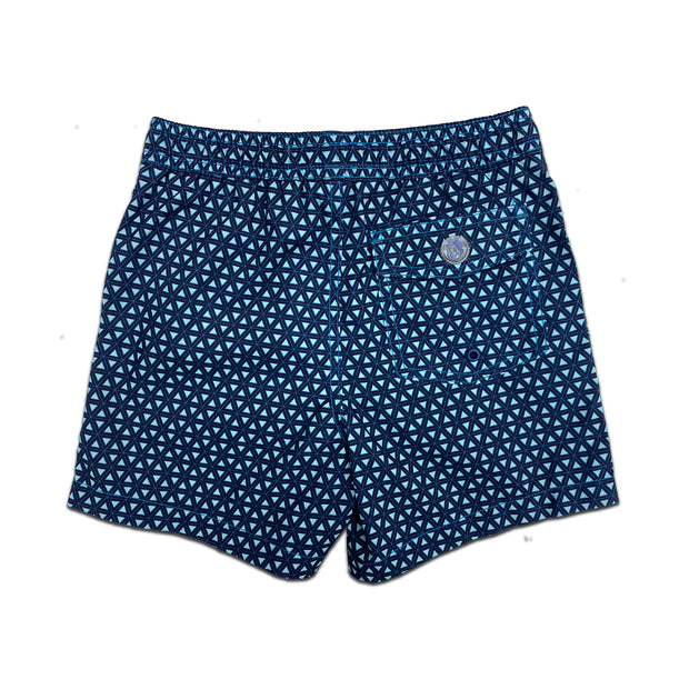 Jr. Swim - Kids Swim Trunks - Interlocking Triangle Navy Blue