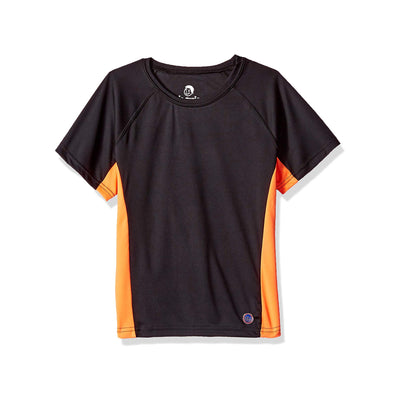 Jr. Swim - Kids UPF 50+ Swim Tee - Black and Orange