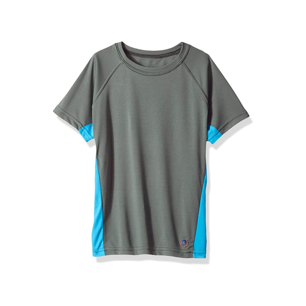 Jr. Swim - Kids UPF 50+ Swim Tee - Charcoal and Turquoise