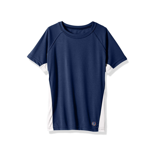 Jr. Swim - Kids UPF 50+ Swim Tee - Navy Blue and White