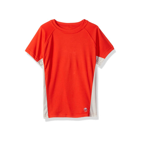 Jr. Swim - Kids UPF 50+ Swim Tee - Red and Grey