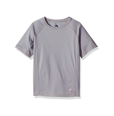 Jr. Swim - Kids  UPF 50+ Swim Tee - Grey with Orange Stitch