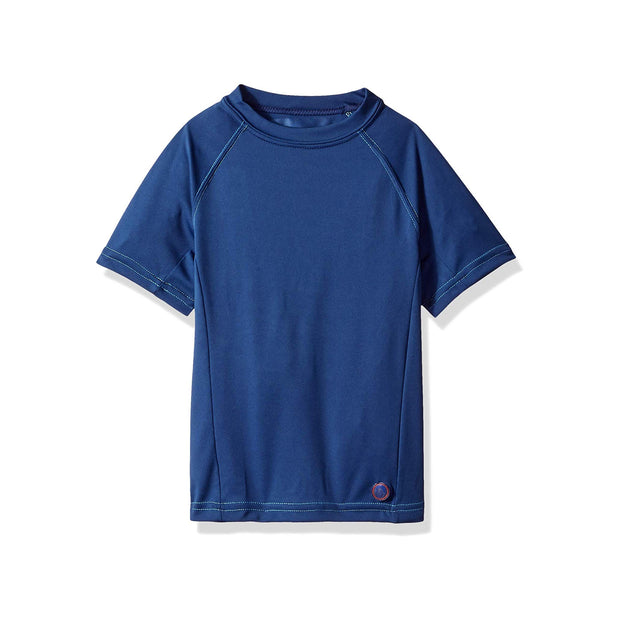 Jr. Swim - Kids  UPF 50+ Swim Tee - Indigo Blue with Turquoise Stitch