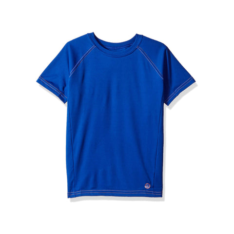Jr. Swim - Kids UPF 50+ Swim Tee - Navy Blue with Orange Stitch