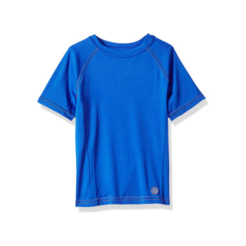 Jr. Swim - Kids  UPF 50+ Swim Tee - Royal Blue with Black Stitch