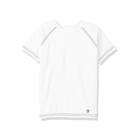 Jr. Swim - Kids  UPF 50+ Swim Tee - White with Navy Stitch
