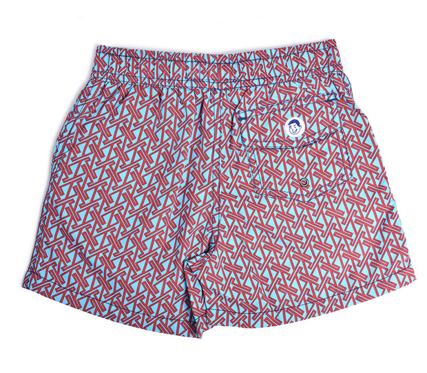Jr. Swim - Kids Swim Trunks - Vertical Zig Turquoise and Red