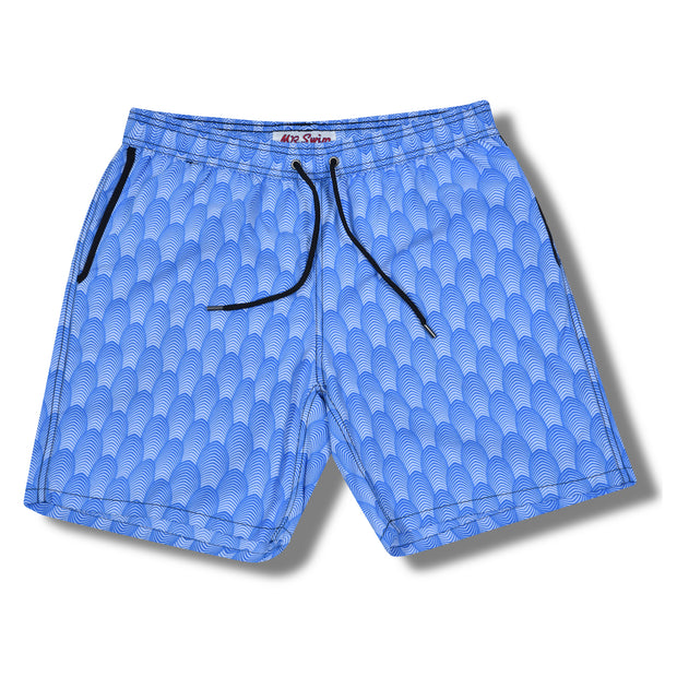 Deco Elastic Waist Swim Trunks - Blue