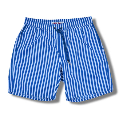 Ocean Blue Cabana Stripe Swim Trunks