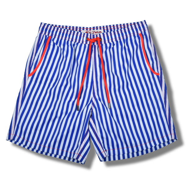 Royal Blue Cabana Stripe Swim Trunks