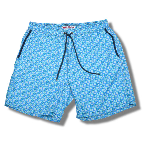 Pebbles Elastic Waist Swim Trunks - Light Blue