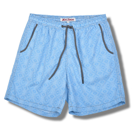 Maze Elastic Waist Swim Trunks - Light Blue