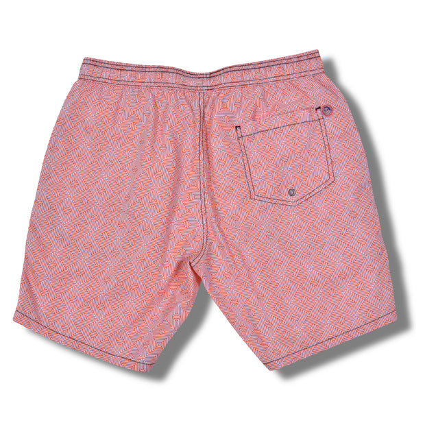 Orange Maze Swim Trunks