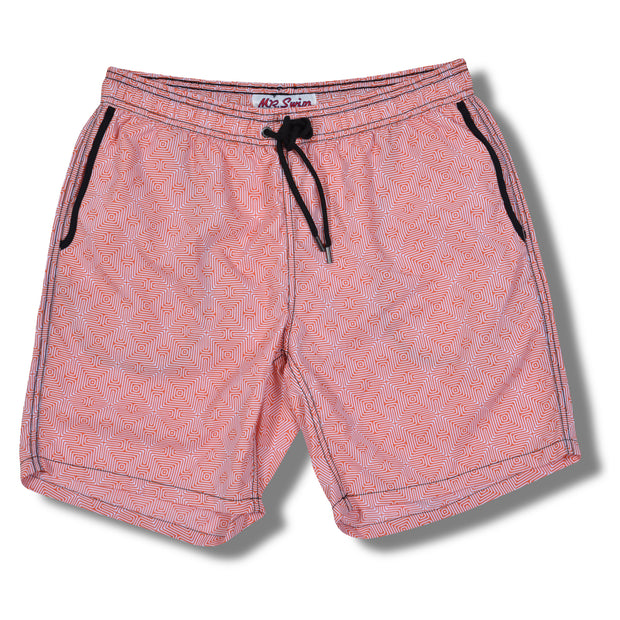 Maze Elastic Waist Swim Trunks - Orange